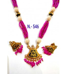 Authentic Handicraft Thewa Art Gold Work Jewellery Of Peacock Design In Pink And Golden Pearl