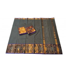 Pochampalli Ikat Silk Grey  Saree For Women By Vishva Saree House