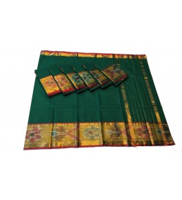 Pochampalli Ikat Silk Green Saree For Women By Vishva Saree House