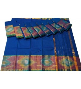 Beautiful Silk Blue Pochampalli Saree By Vishva Saree House