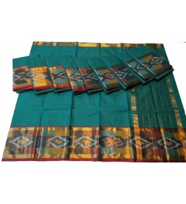 Beautiful Silk Pochampalli Turquoise Saree By Vishva Saree House