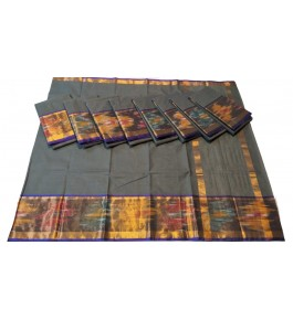 Pochampalli Ikat Silk  Grey Saree By Vishva Saree House Vijju