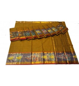 Pochampalli Ikat Silk  Mehndi Saree By Vishva Saree House Vijju