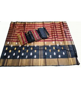 Uppada Jamdani Tissue Lines Buta Silk Black-Red Saree For Women By Vishva Sarees House Vijju