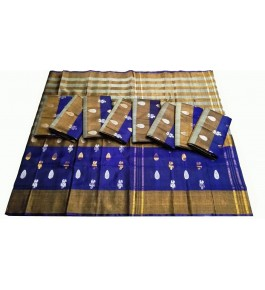 Uppada Jamdani Tissue Lines Buta Silk Blue Saree For Women By Vishva Sarees House Vijju