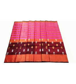 Uppada Jamdani Tissue Lines Buta Silk Peach Saree For Women By Vishva Sarees House Vijju