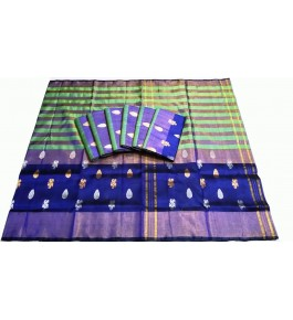 Uppada Jamdani Tissue Lines Buta Silk Blue-Green For Women By Vishva Sarees House Vijju