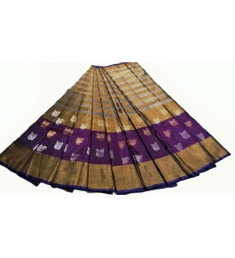 Uppada Jamdani Tissue Lines Buta Silk Beige Saree For Women By Vishva Sarees House Vijju