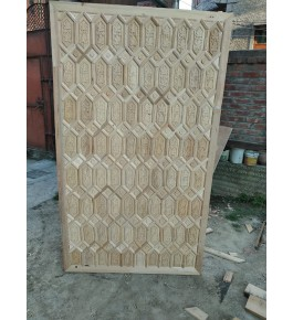 Beautiful Wall Designing Of Khatamband Wood In Light Brown Colour For Wall Decoration