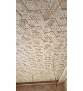 Beautiful Wall Designing Of Khatamband Wood For Wall Decoration Of Flowers In Beige Colour