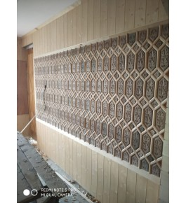 Beautiful Wall Designing Of Khatamband Wood For Wall Decoration Of Flowers In Rhombus Shape