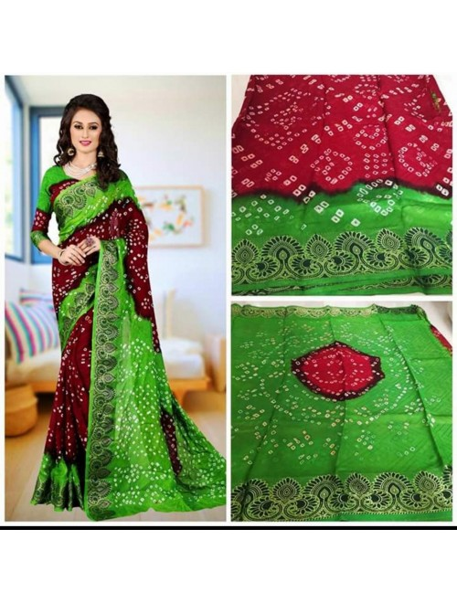 Jamanagari Bandhani Jacquard Silk Green & Brown Color Saree With Zari Border & Blouse For Women By Jhaveri Handicraft