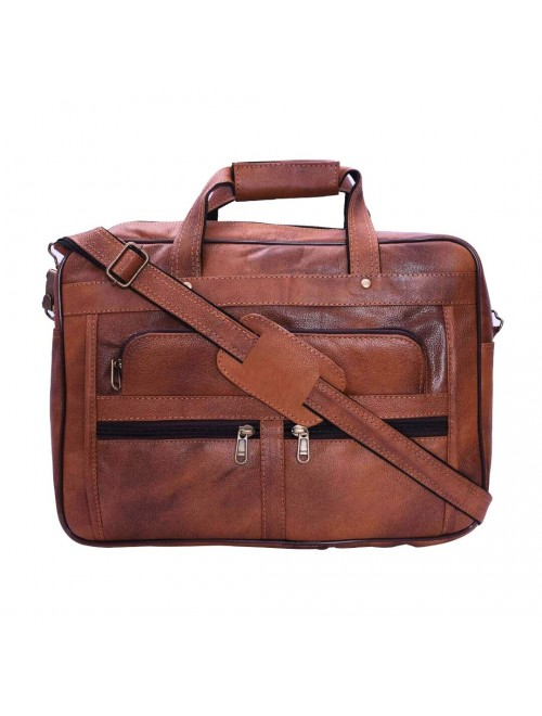 E.I. Leather Brown Laptop Bag By Anfal International