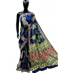 Block Printing Soft Cotton Blue Saree For Women By Ankush Art