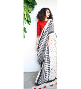 FARRUKHABAD PRINTS Block Printing Soft Cotton White Saree For Women By Ankush Art