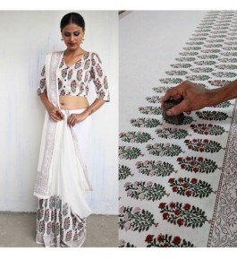 FARRUKHABAD PRINTS Block Printing Soft Cotton White Saree For Women