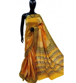 Block Printing Soft Cotton Yellow Saree For Women By Ankush Art