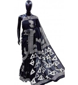 FARRUKHABAD PRINTS Block Printing Soft Cotton Navy Blue Saree For Women By Ankush Art