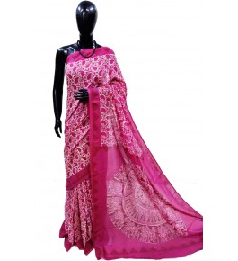 Block Printing Soft Cotton Pink Saree For Women By Ankush Art
