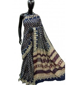 Block Printing Soft Cotton Navy Blue Saree For Women By Ankush Art