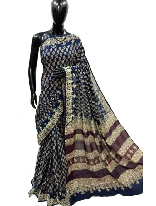 FARRUKHABAD PRINTS Block Printing Soft Cotton Deep Blue Saree For Women By Ankush Art