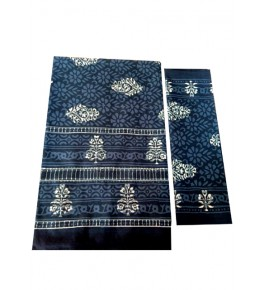 Bagru Hand Block Printed Cotton Blue Double Bedsheet with Two Pillow Covers