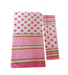 Bagru Hand Block Printed Cotton Pink Double Bedsheet with 2 Pillow Covers