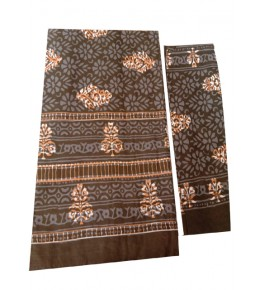 Bagru Hand Block Printed Cotton Brown Double Bedsheet with 2 Pillow Covers