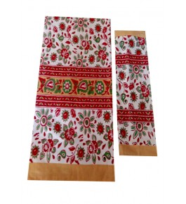 Bagru Hand Block Printed Cotton Red Double Bedsheet with 2 Pillow Covers