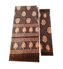 Bagru Hand Block Printed Cotton Brown Double Bedsheet with Two Pillow Covers