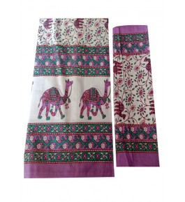 Bagru Hand Block Printed Cotton Pink Double Bedsheet with Two Pillow Covers