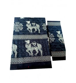 Bagru Hand Block Printed Cotton Blue Double Bedsheet with 2 Pillow Covers