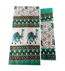 Bagru Hand Block Camel Printed Cotton Green Double Bedsheet with 2 Pillow Covers