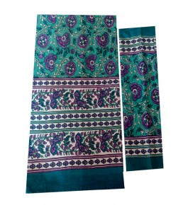 Bagru Hand Block Printed Cotton Turquoise Double Bedsheet with Two Pillow Covers