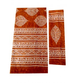 Bagru Hand Block Printed Cotton Orange Double Bedsheet with Two Pillow Covers