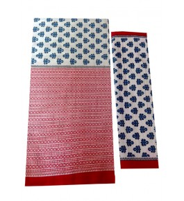 Bagru Hand Block Printed Cotton Red & White Double Bedsheet with 2 Pillow Covers