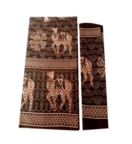 Bagru Hand Block Camel Printed Cotton Brown Double Bedsheet with Two Pillow Covers