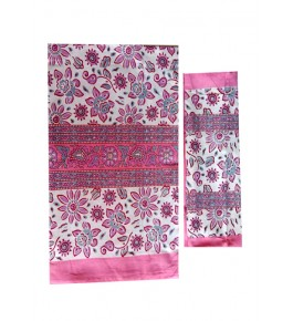 Bagru Hand Block Flower Printed Cotton Pink Double Bedsheet with Two Pillow Covers