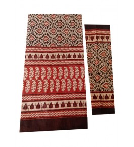 Bagru Hand Block Printed Cotton Double Bedsheet with Two Pillow Covers