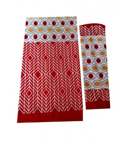 Bagru Hand Block Printed Cotton Red Double Bedsheet with Two Pillow Covers