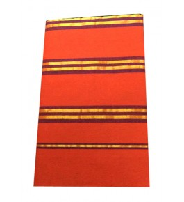 Balaramapuram Handloom Designer Orange Cotton Saree for Women