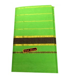 Balaramapuram Handloom Designer Green Cotton Saree with Blouse for Women