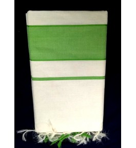 Balaramapuram Handloom Designer Cream & Green Color Cotton Saree for Women