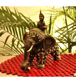 Bastar Dhokra Art Men Figure Elephant With Sitting Men By Bhansali Handicrafts