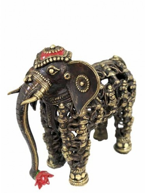 Bastar Dhokra Art Men Figure Elephant By Bhansali Handicrafts
