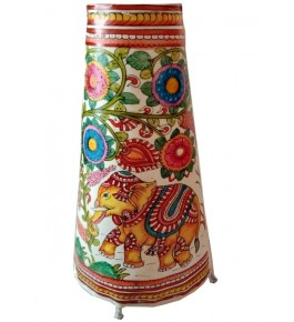 Andhra Pradesh Leather Puppetry Floral & Elephant Decorative Showpiece & Lamp