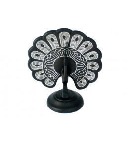 Black Metal Bidri Art Work  Dancing Peacock Decorative  Showpiece