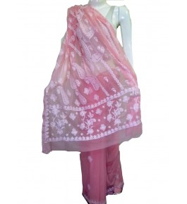 Handwoven Chikan Embroidery Work Pink Saree For Women By Verdan Chikan