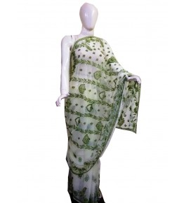 Handwoven Chikan Embroidery Work Green Saree For Women By Verdan Chikan