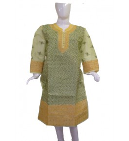 Handwoven Chikan Embroidery Work Green Suit For Women By Verdan Chikan